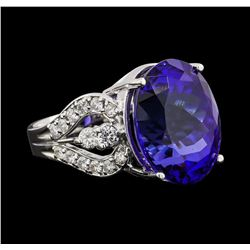 GIA Cert 18.52 ctw Tanzanite and Diamond Ring - 14KT White Gold