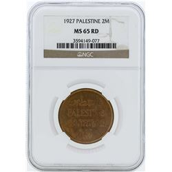 1927 Palestine 2 Mils Coin NGC MS65RD