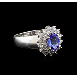 14KT White Gold 0.83 ctw Tanzanite and Diamond Ring