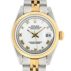 Rolex Ladies 2 Tone 14K White Roman 26MM Datejust Wristwatch
