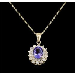 2.62 ctw Tanzanite and Diamond Pendant With Chain - 14KT Yellow Gold