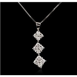 18KT White Gold 0.85 ctw Diamond Pendant With Chain