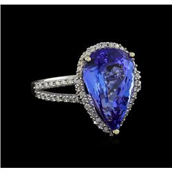 7.11 ctw Tanzanite and Diamond Ring - 14KT White Gold