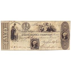 1825 $2 New Jersey State Bank of Trenton Obsolete Bank Note