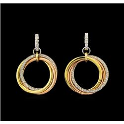 14KT Tri-Color Gold 0.90 ctw Diamond Earrings