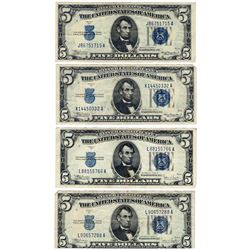 Lot (4) 1934 $5 Silver Certificate Notes