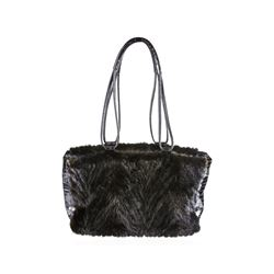 Paolo Masi Vintage Italian Black Mink Fur Leather Shoulder Bag Purse