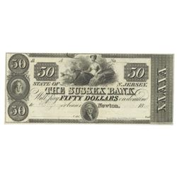 1800's $50 The Sussex Bank, Newton, NJ Obsolete Bank Note