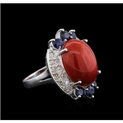 14KT White Gold 12.90 ctw Coral, Sapphire and Diamond Ring