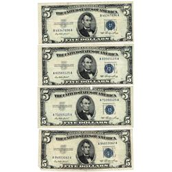 Lot (4) 1953 $5 Silver Certificate Notes