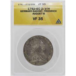 1792 IEC Germany-Saxony 2/3 Thaler Coin ANACS VF35
