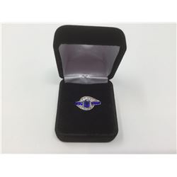 Sterling Silver Cubic Zirconia Sapphire Cocktail Ring