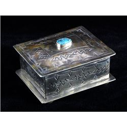 Navajo Sterling Silver Turquoise Jewelry Box