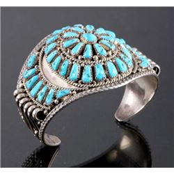 Signed Navajo Sterling Silver and Turquoise Cuff