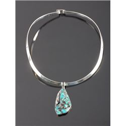 Navajo Sterling Silver Turquoise Nugget Necklace