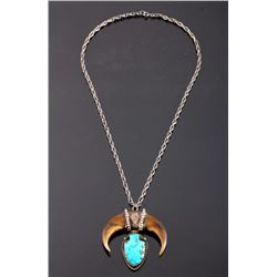 Navajo Sterling Turquoise Bear Claw Necklace