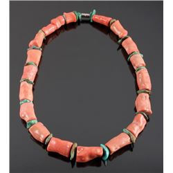 Navajo Coral & Turquoise Nugget Necklace