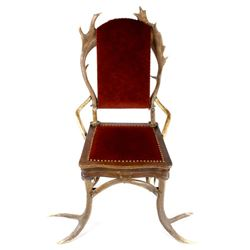 German Fallow & Stag Deer Antler Chair c.1890-1920