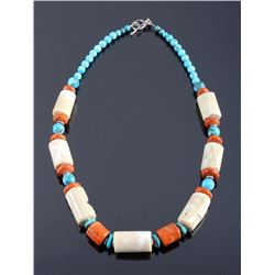Signed Navajo Turquoise & White Coral Necklace
