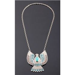 Navajo Sterling Silver Turquoise Eagle Necklace