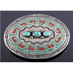 Navajo Sterling Silver Coral Turquoise Belt Buckle