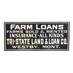 Original Westby Montana Farm Loan Sign Early 1900