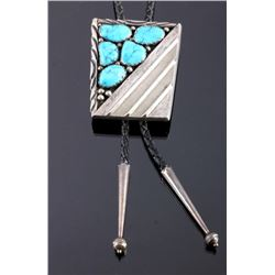 Signed Navajo Sterling Silver Turquoise Bolo Tie
