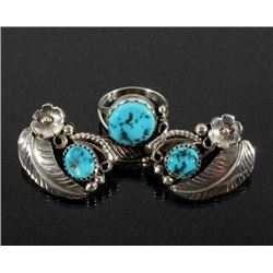 Navajo Silver & Turquoise Floral Earrings & Ring