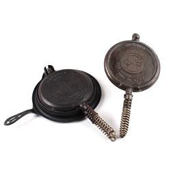 Pair of Griswold Number 9 Waffle Makers with base