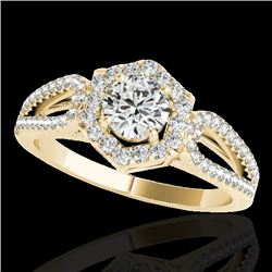 1.43 CTW H-SI/I Certified Diamond Solitaire Halo Ring 10K Yellow Gold - REF-170A9X - 34018