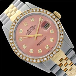 Rolex Men's Two Tone 14K Gold/SS, QuickSet, Diamond Dial & Diamond Bezel - REF-557N5A