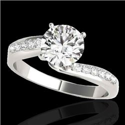 1.4 CTW H-SI/I Certified Diamond Bypass Solitaire Ring 10K White Gold - REF-190M9H - 35072