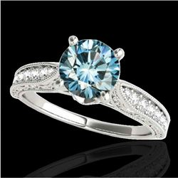 1.5 CTW Si Certified Fancy Blue Diamond Solitaire Antique Ring 10K White Gold - REF-221M8H - 34734