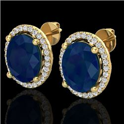6 CTW Sapphire & Micro Pave VS/SI Diamond Earrings Halo 18K Yellow Gold - REF-89M3H - 21065