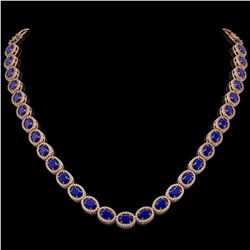 34.11 CTW Sapphire & Diamond Halo Necklace 10K Rose Gold - REF-537A5X - 40407