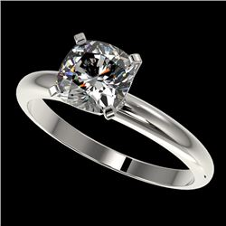 1.25 CTW Certified VS/SI Quality Cushion Cut Diamond Solitaire Ring 10K White Gold - REF-372T3M - 32