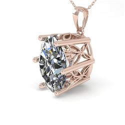 1 CTW Certified VS/SI Oval Diamond Necklace 18K Rose Gold - REF-279F2N - 35864