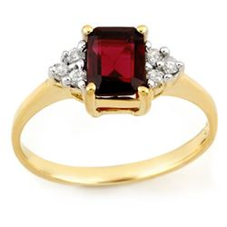 1.12 CTW Garnet & Diamond Ring 10K Yellow Gold - REF-17A5X - 11232
