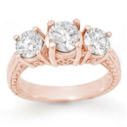 1.50 CTW Certified VS/SI Diamond 3 Stone Ring 14K Rose Gold - REF-236K5W - 13373