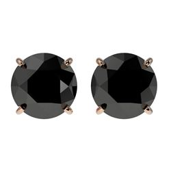 2 CTW Fancy Black VS Diamond Solitaire Stud Earrings 10K Rose Gold - REF-40T9M - 33084