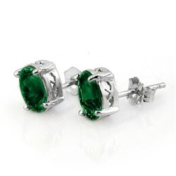 2.0 CTW Emerald Earrings 14K White Gold - REF-13K6W - 11311