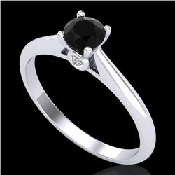 0.4 CTW Fancy Black Diamond Solitaire Engagement Art Deco Ring 18K White Gold - REF-33T6M - 38178