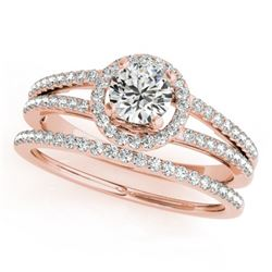 0.85 CTW Certified VS/SI Diamond 2Pc Wedding Set Solitaire Halo 14K Rose Gold - REF-127F3N - 31074