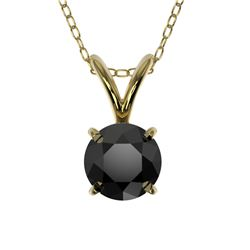 0.50 CTW Fancy Black VS Diamond Solitaire Necklace 10K Yellow Gold - REF-16N5Y - 33158
