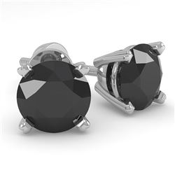1.0 CTW Black Diamond Stud Designer Earrings 14K White Gold - REF-28H5A - 38356