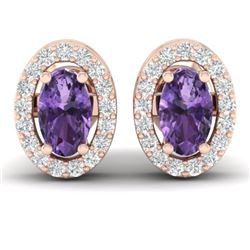 0.75 CTW Amethyst & Micro Pave Earrings Halo 14K Rose Gold - REF-34H5A - 21176