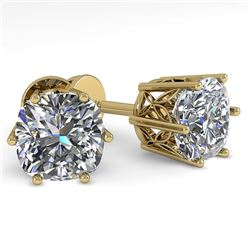 1.0 CTW VS/SI Cushion Cut Diamond Stud Solitaire Earrings 18K Yellow Gold - REF-178H2A - 35833