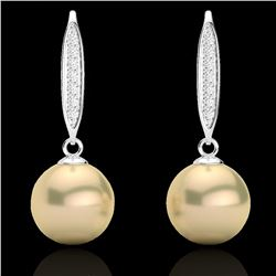 0.18 CTW Micro Pave VS/SI Diamond & Golden Pearl Designer Earrings 18K White Gold - REF-34W5F - 2263