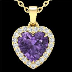 1 CTW Amethyst & Micro VS/SI Diamond Heart Necklace Heart Halo 14K Yellow Gold - REF-28W4F - 21334