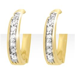 0.20 CTW Certified VS/SI Diamond Earrings 10K Yellow Gold - REF-27T3M - 12769